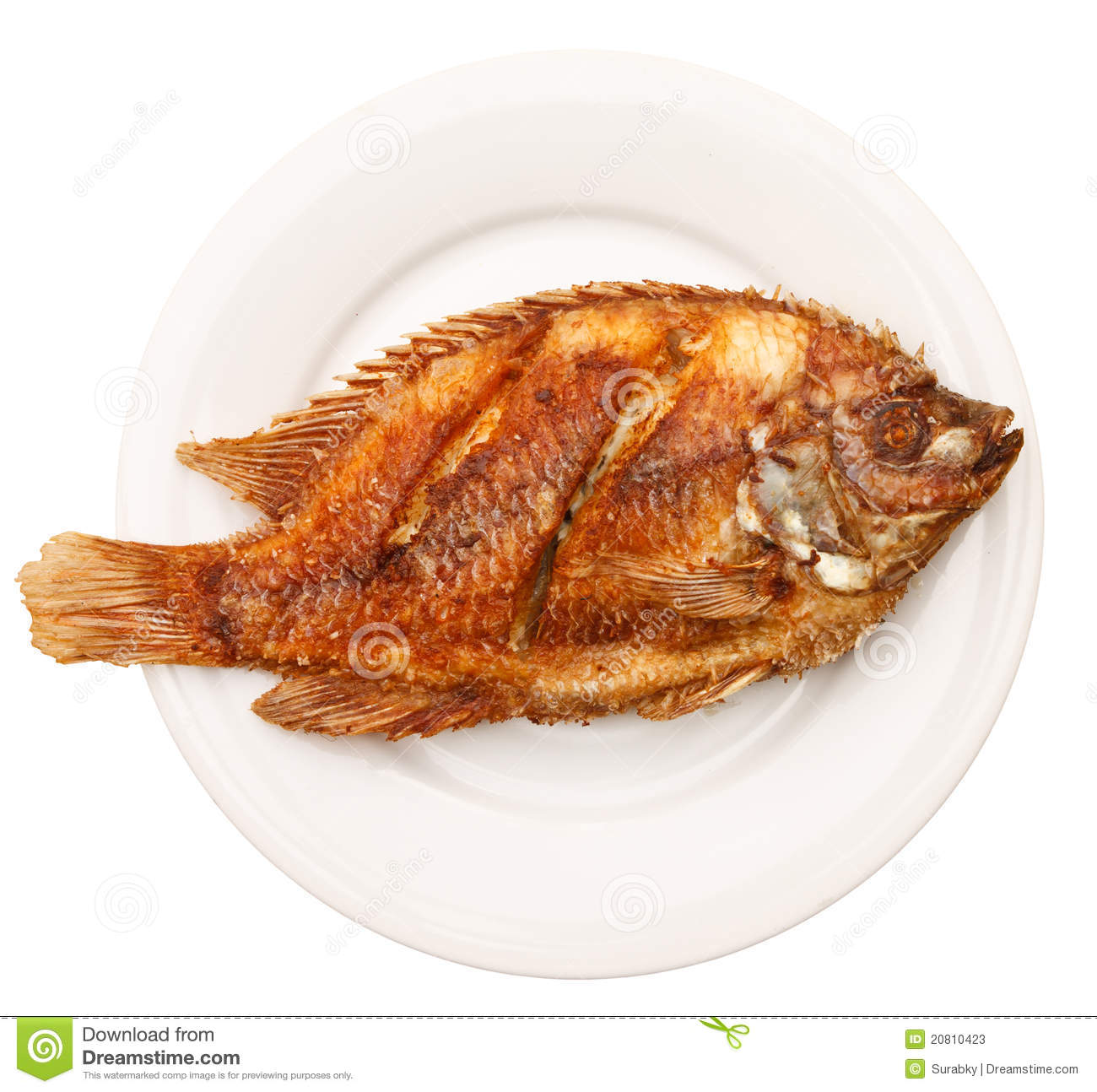Fried fish in white plate stock image image of nutrition for Fried fish calories