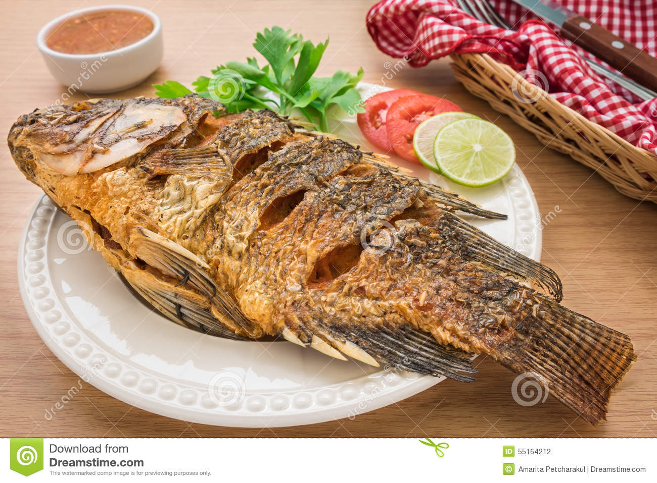 Fried fish on white plate and dip sauce stock photo for Sauce for fried fish