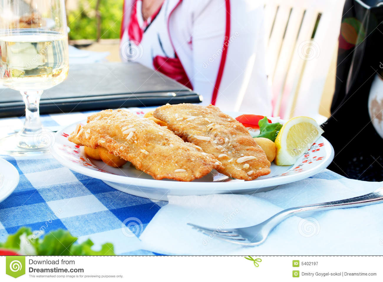 Fried fish with wine royalty free stock photography for Best wine with fish