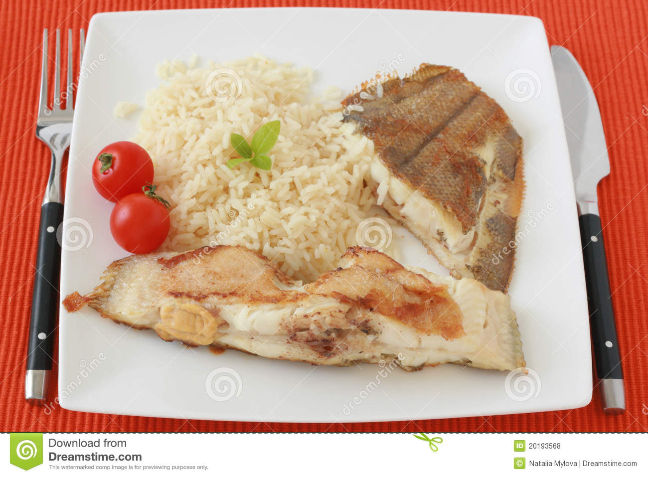 Royalty Free Stock Photos: Fried flounder with boiled rice