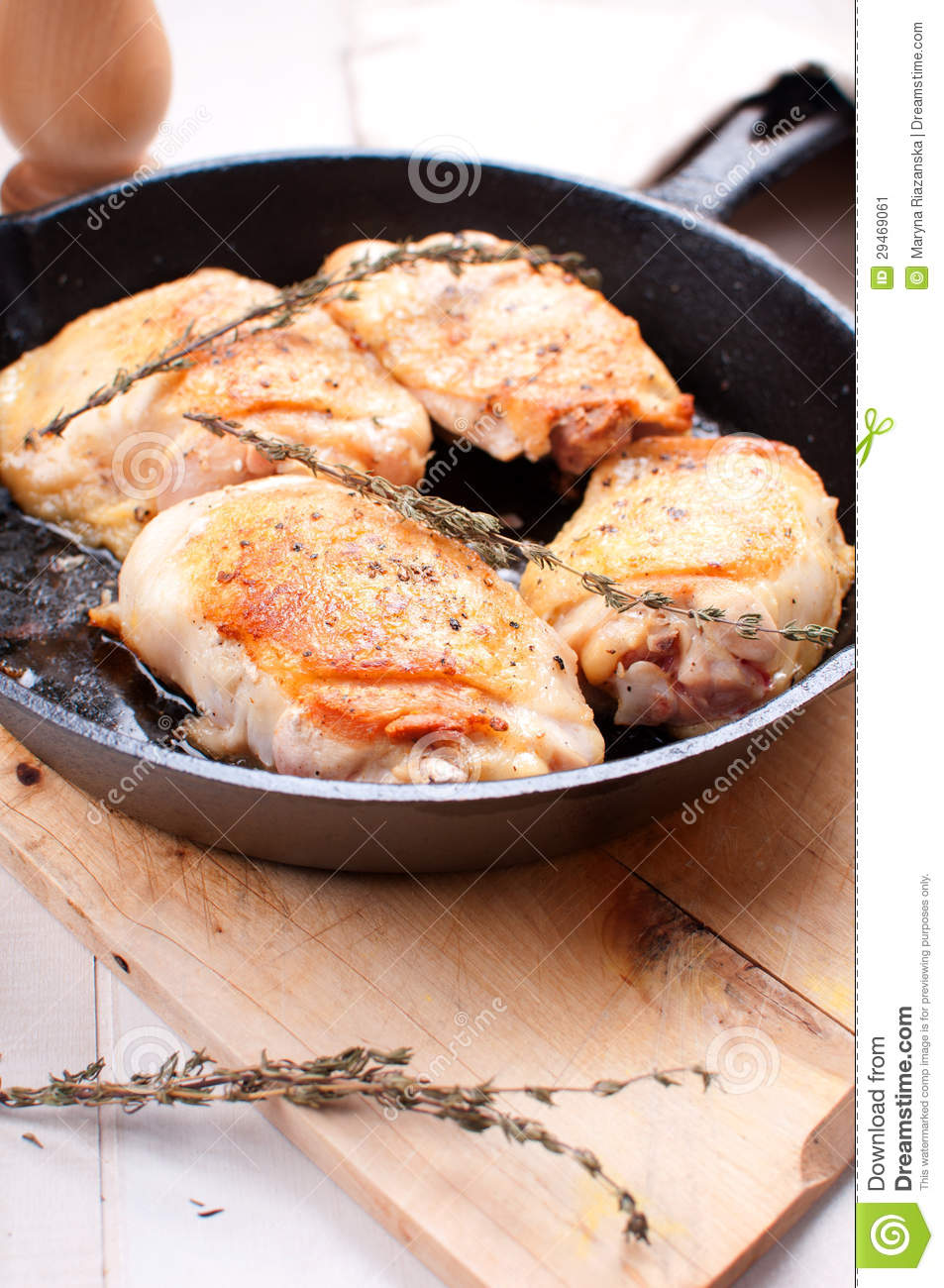 Fried Golden Chicken With Spices And Herbs Stock Image ...