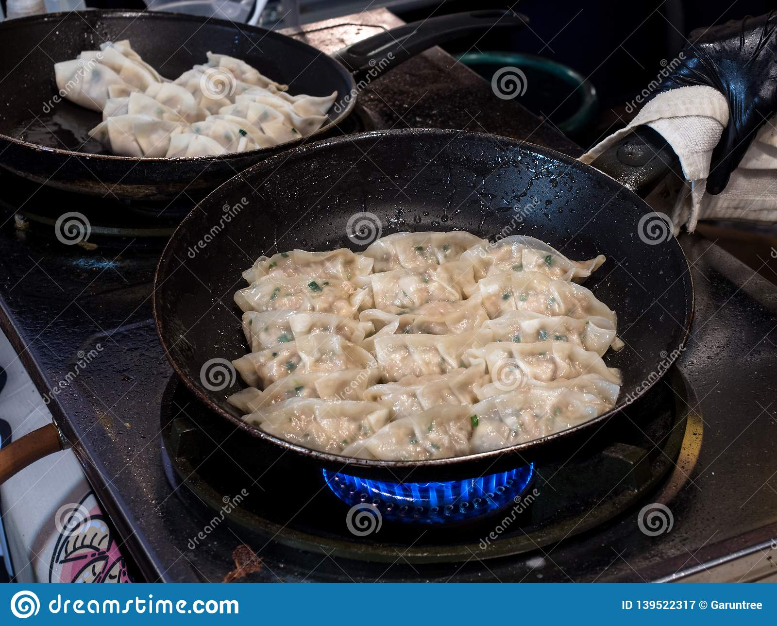 Fried Gyoza in frying pan. Making homemade Japanese dumplings in street food