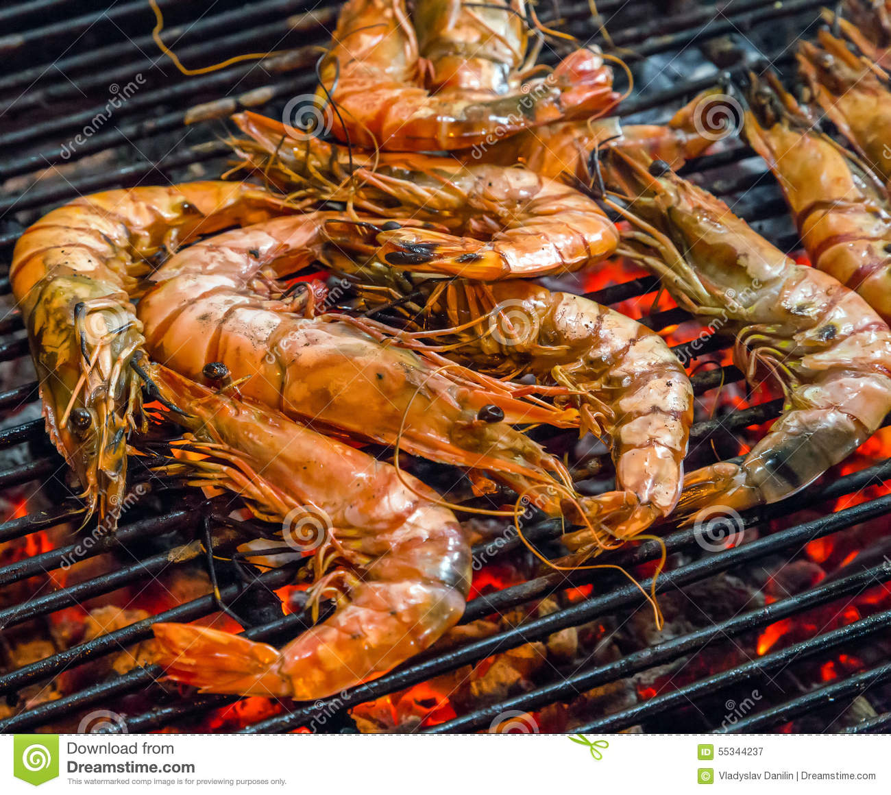 Fried king shrimps seafood barbecue grill stock image for The fish restaurant