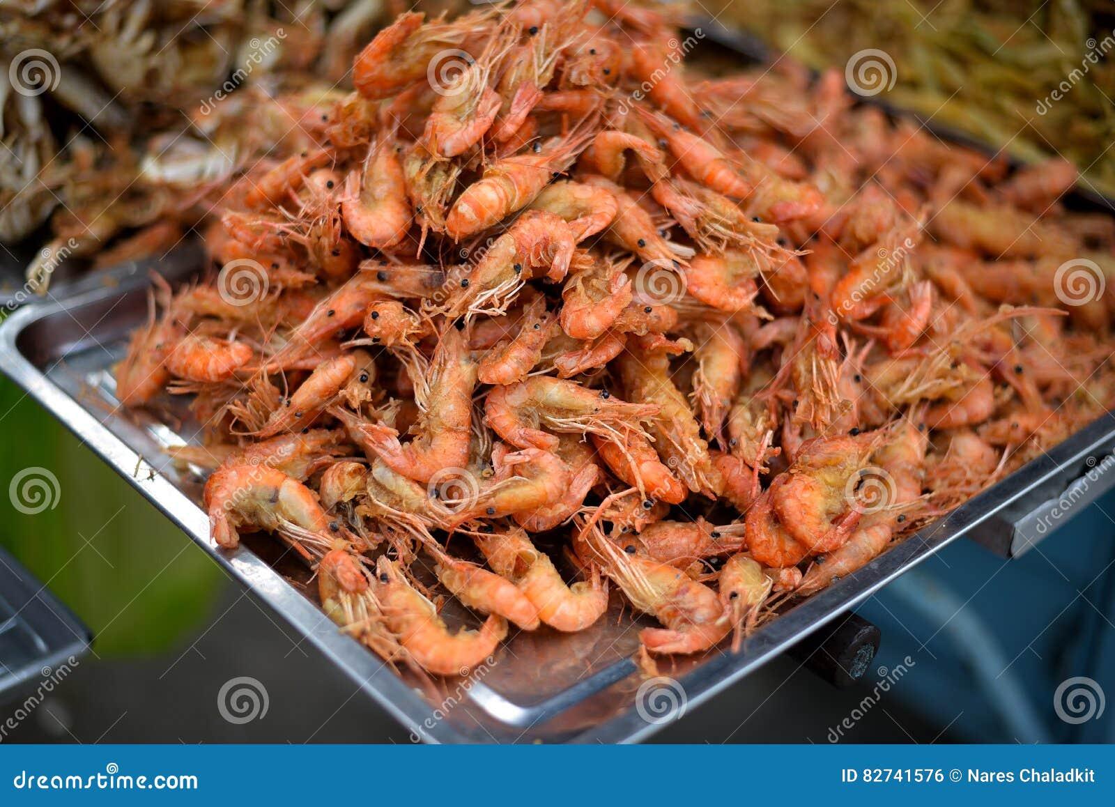 Fried Krill Knusperiges Shrimpa Thailandische Kuche Stockfoto