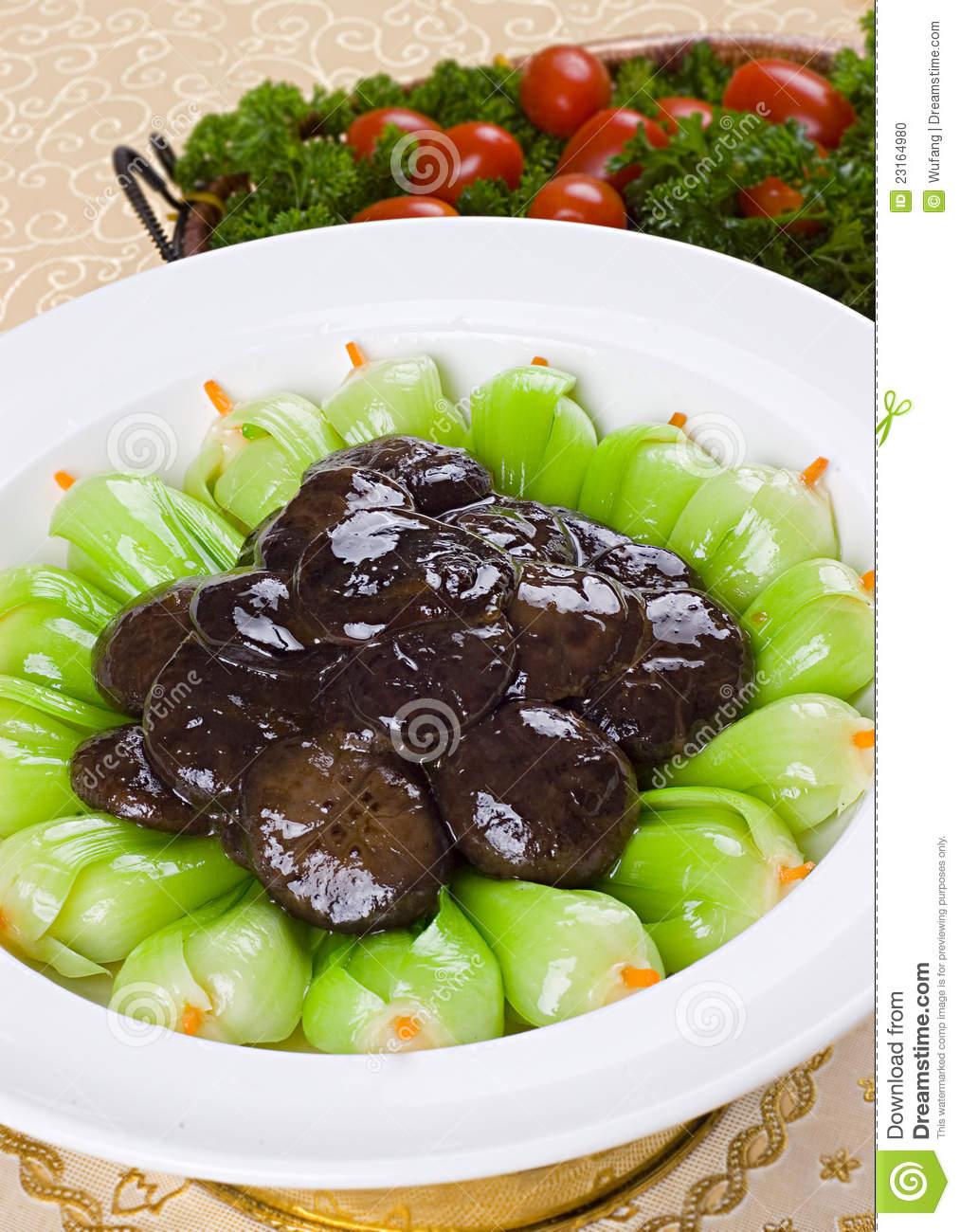 Fried Mushroom With Greens Stock Photo - Image: 23164980
