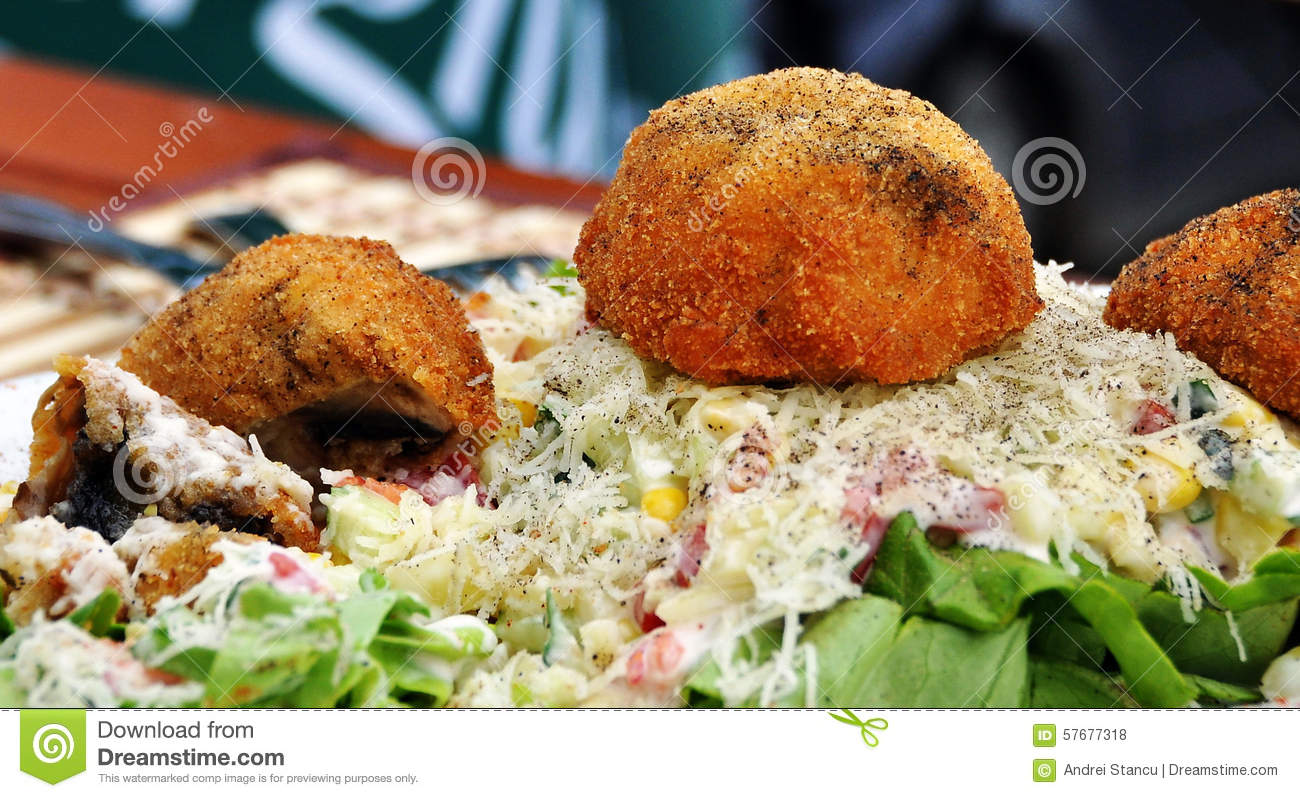 Fried Mushrooms With Vegetables Stock Photo - Image: 57677318