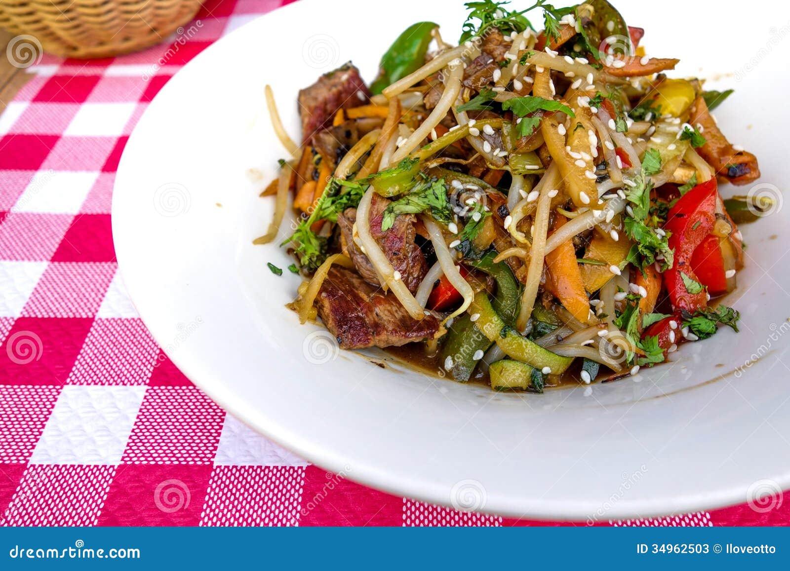 Fried noodle asian food