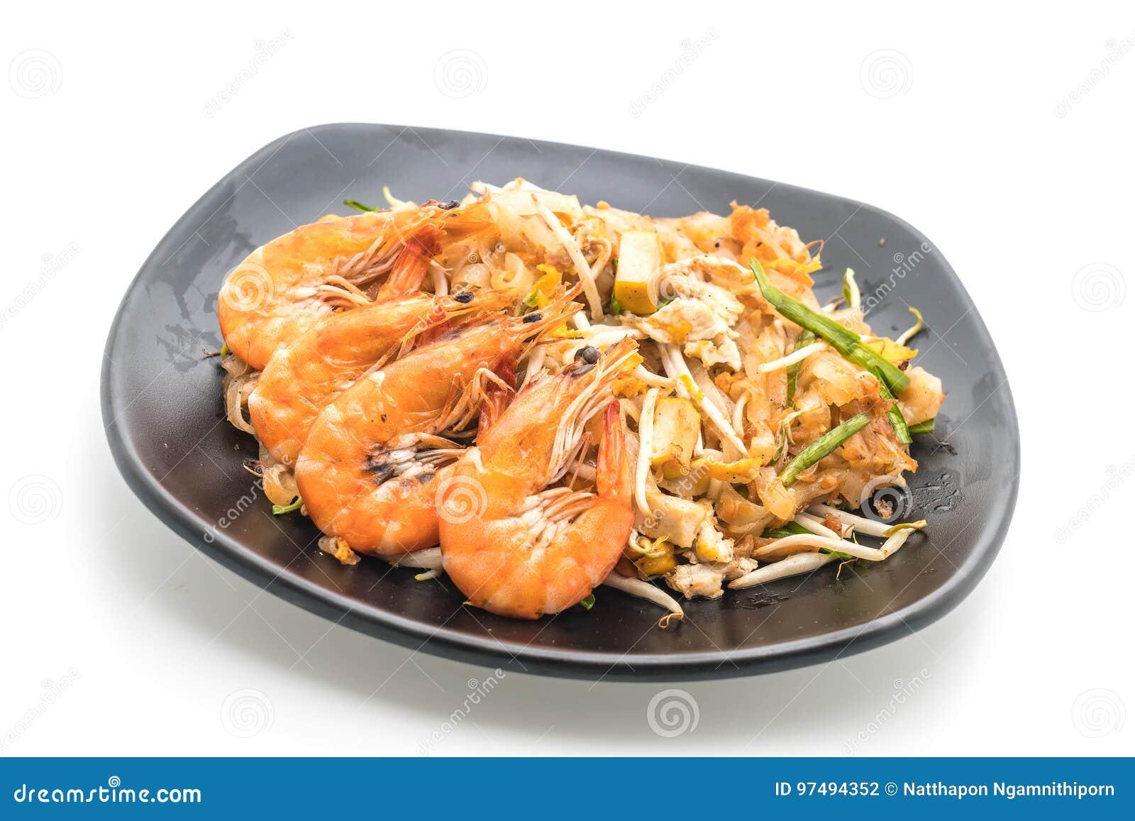 Fried Noodles Pad Thai tailandese con i gamberetti o i gamberetti