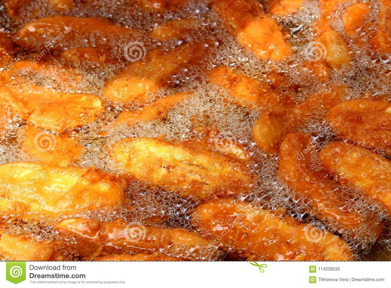 Fried in oil bananas background