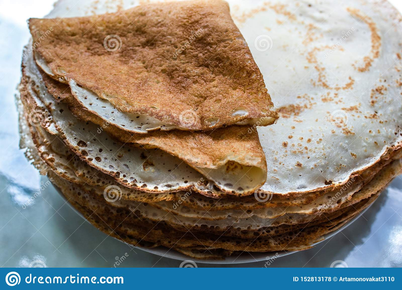 Fried pancakes. Close up. Copy space.