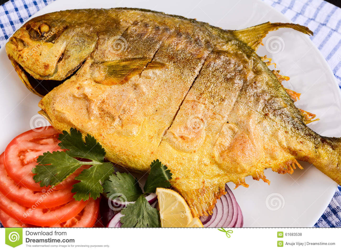 Fried pomfret fish stock photo image of deep aquatic for Fish on main