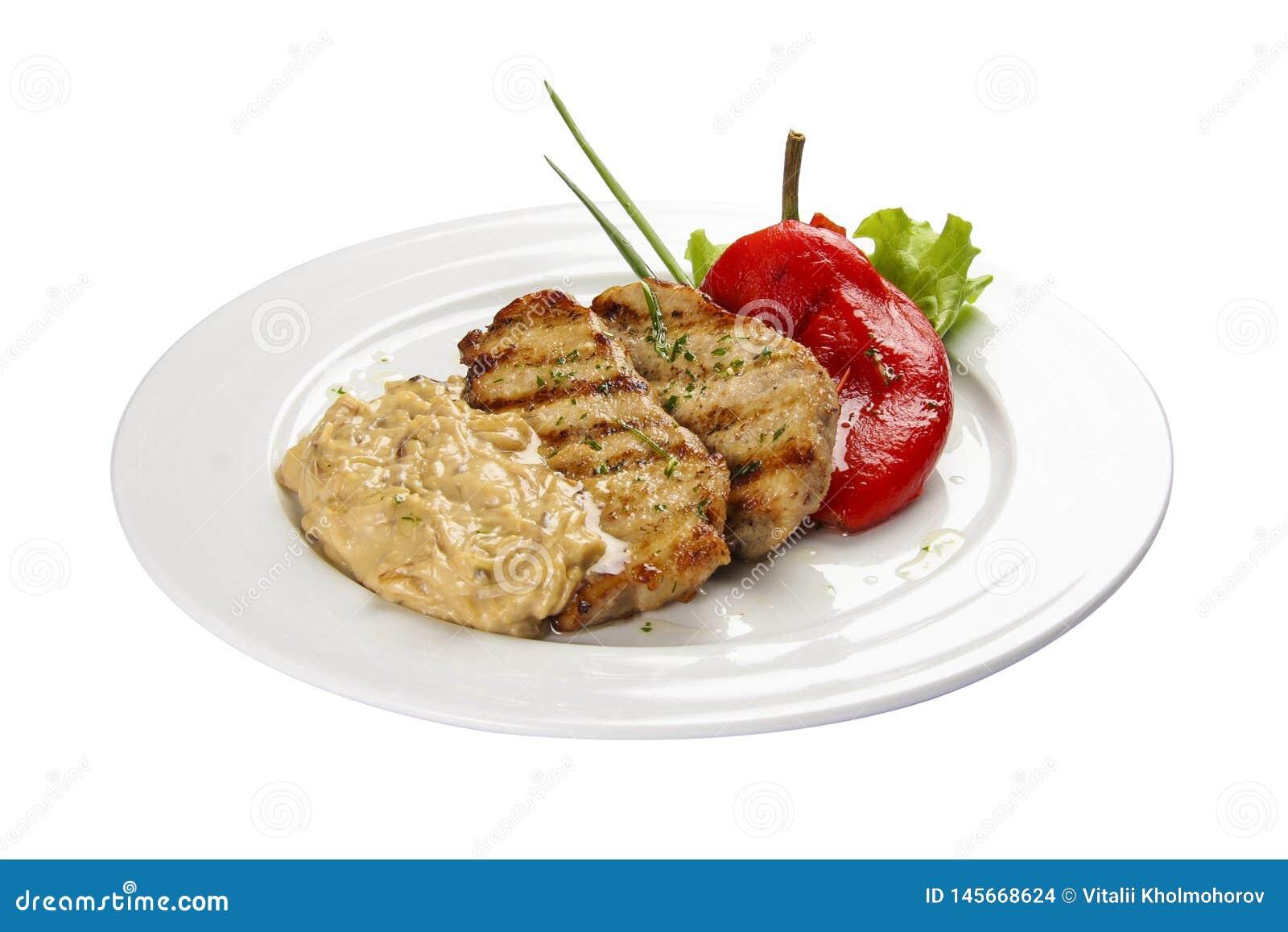 Fried pork in Latvian style.