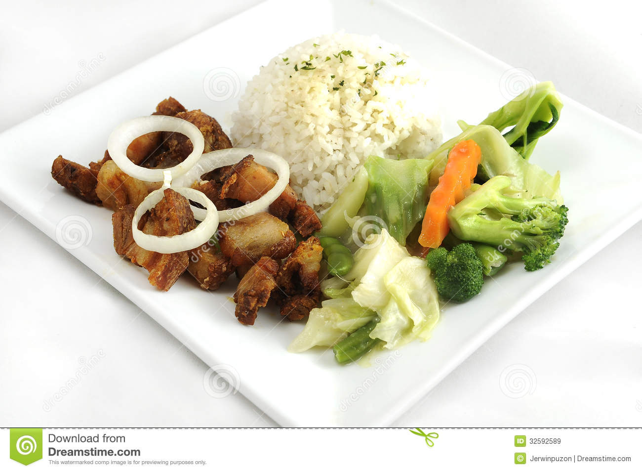 Fried pork, rice and steamed vegetables on a plate shot on white ...