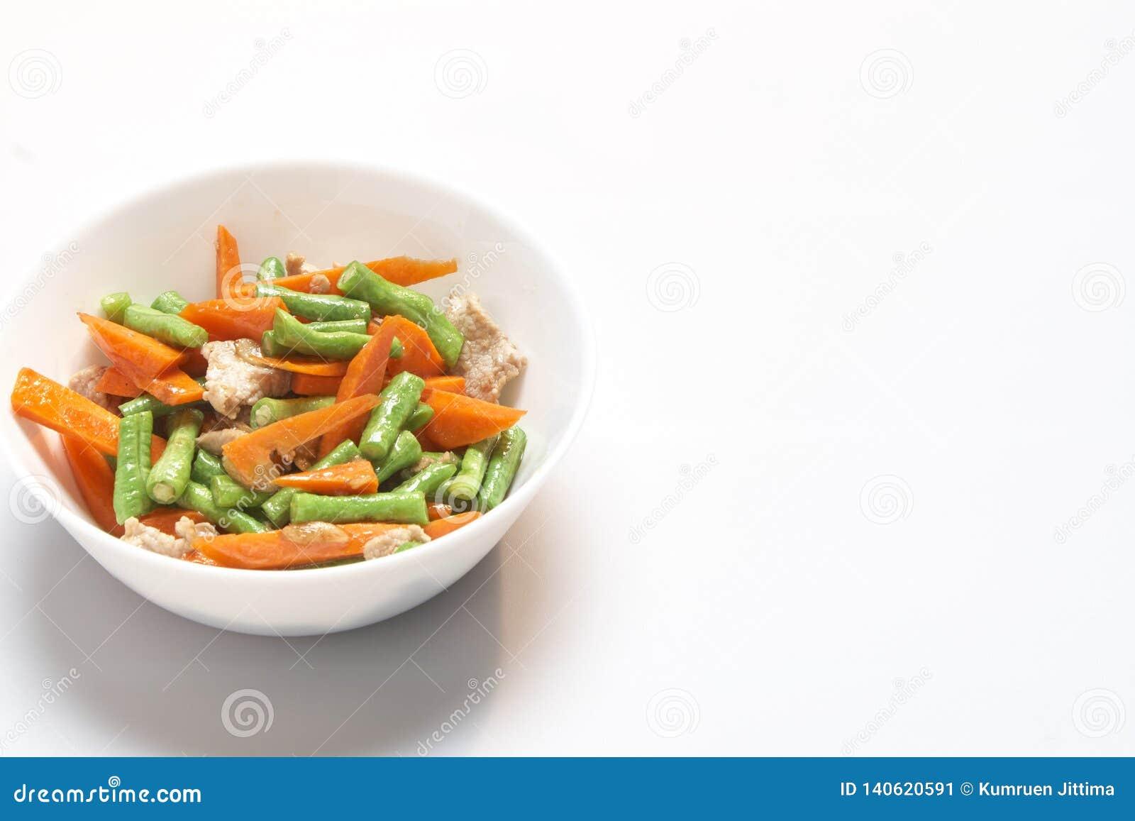 Fried Porki Long bean with carrot