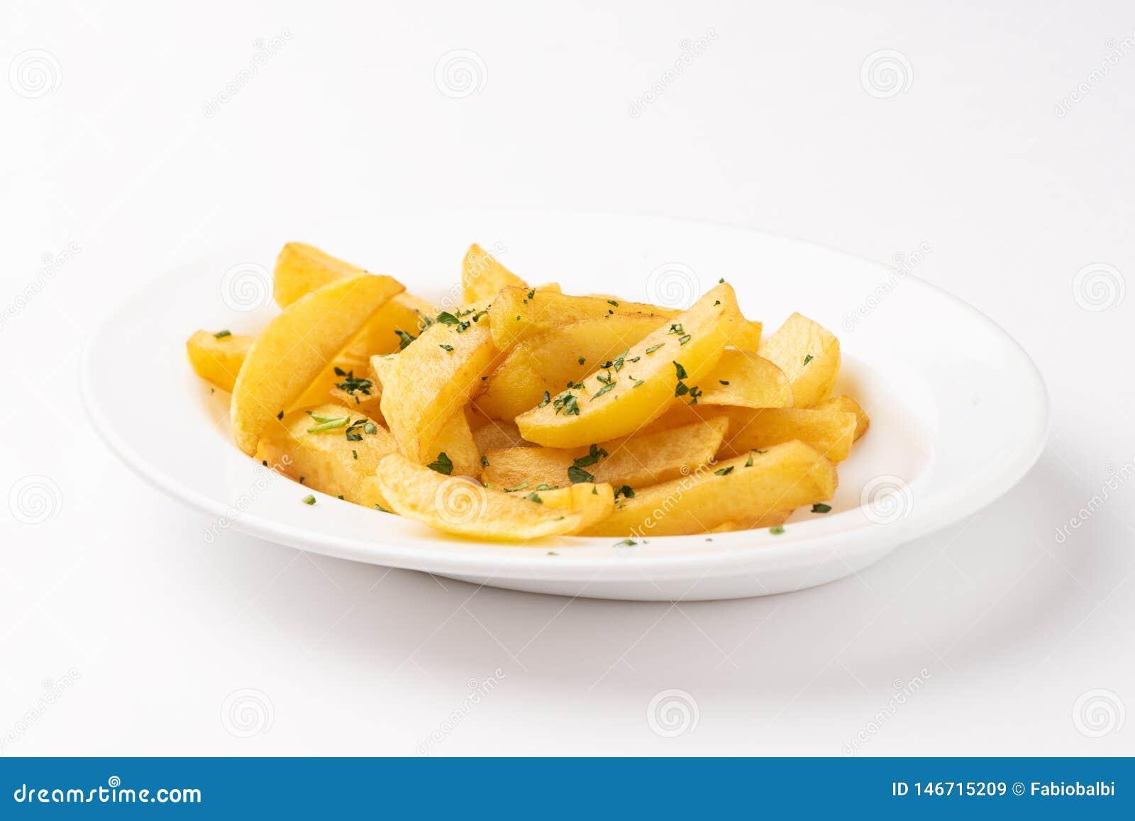 Fried Potato French Fries savoureux du plat blanc