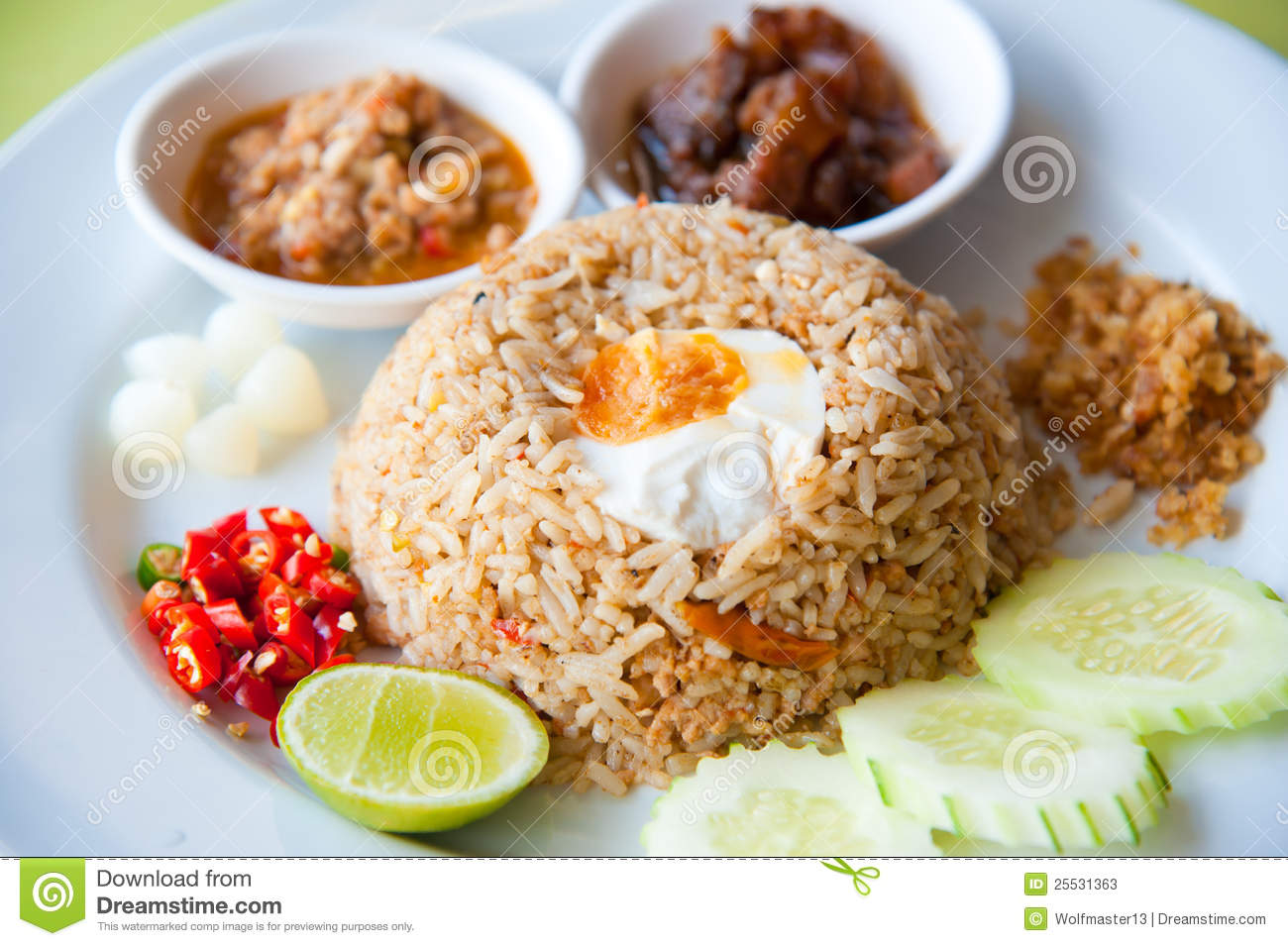 Fried Rice With Chili Dip, Pork And Salt Egg Stock Photos - Image ...