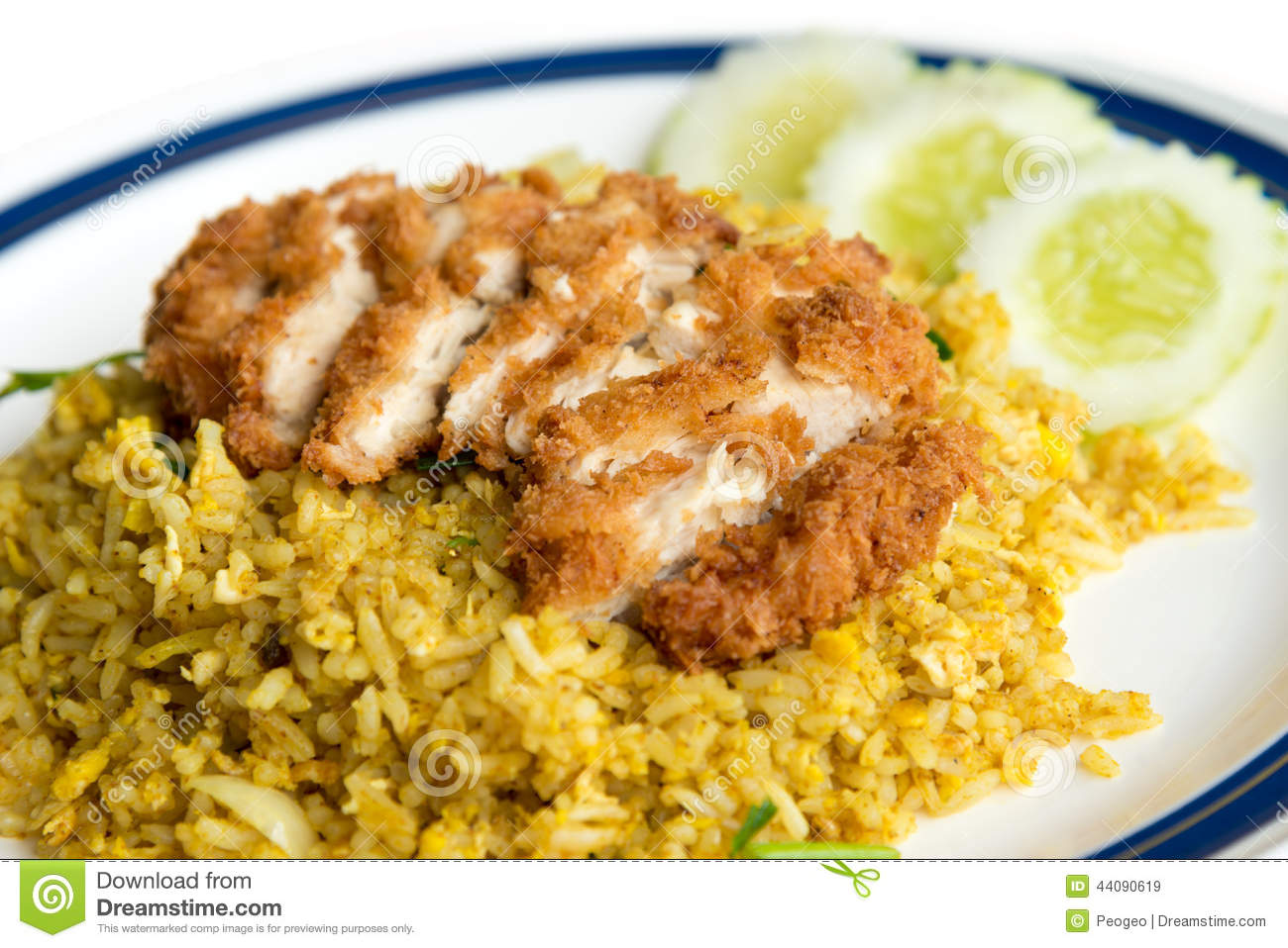 Fried Rice With Crispy Chicken Stock Image - Image: 44090619
