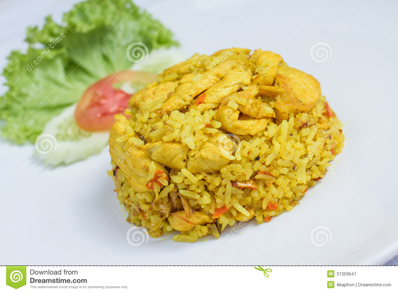Close up fried rice with yellow ginger with chicken, Thai food on ...