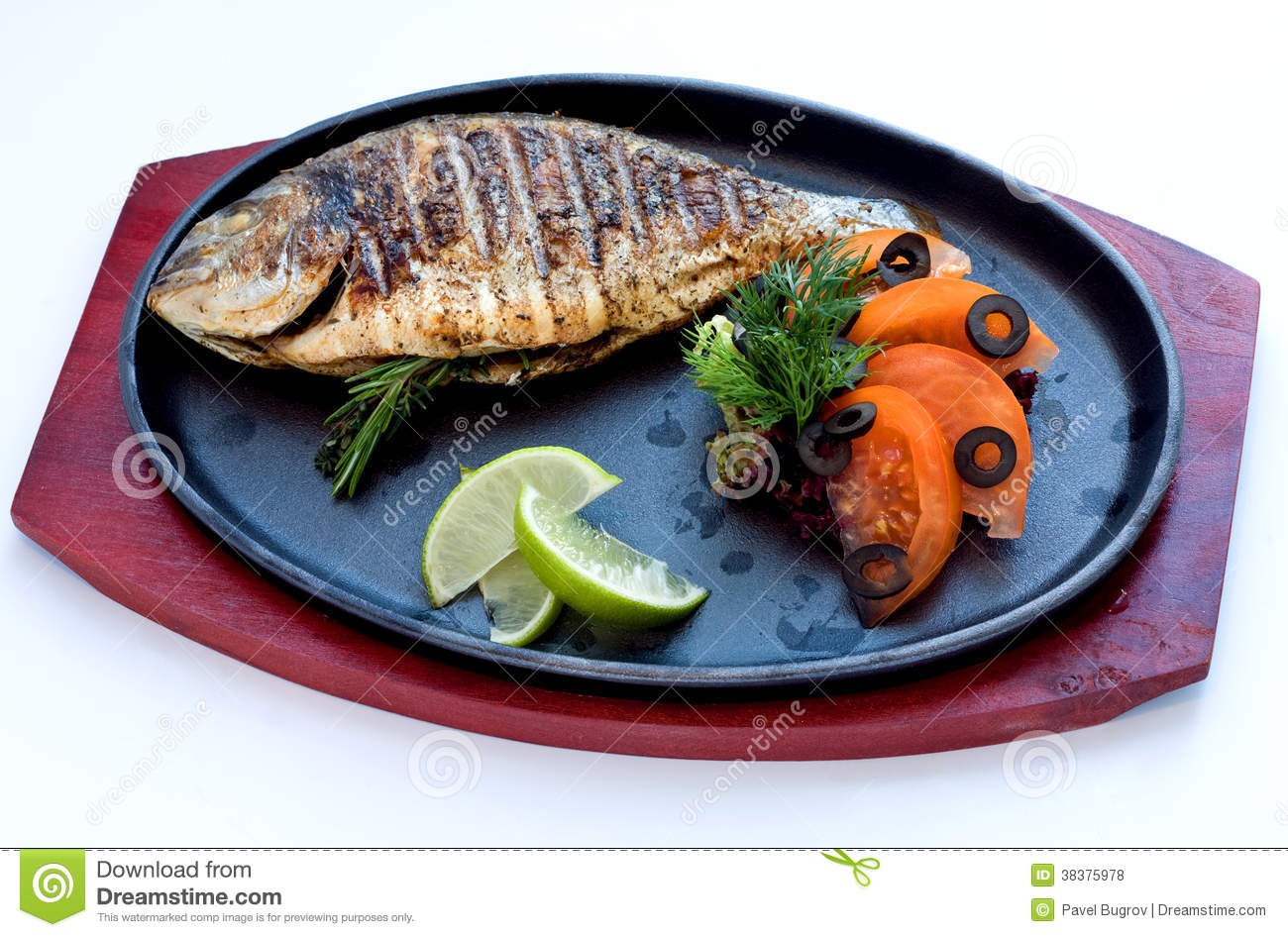 Fried fish on the aluminum sieve stock photo for Fish river grill menu