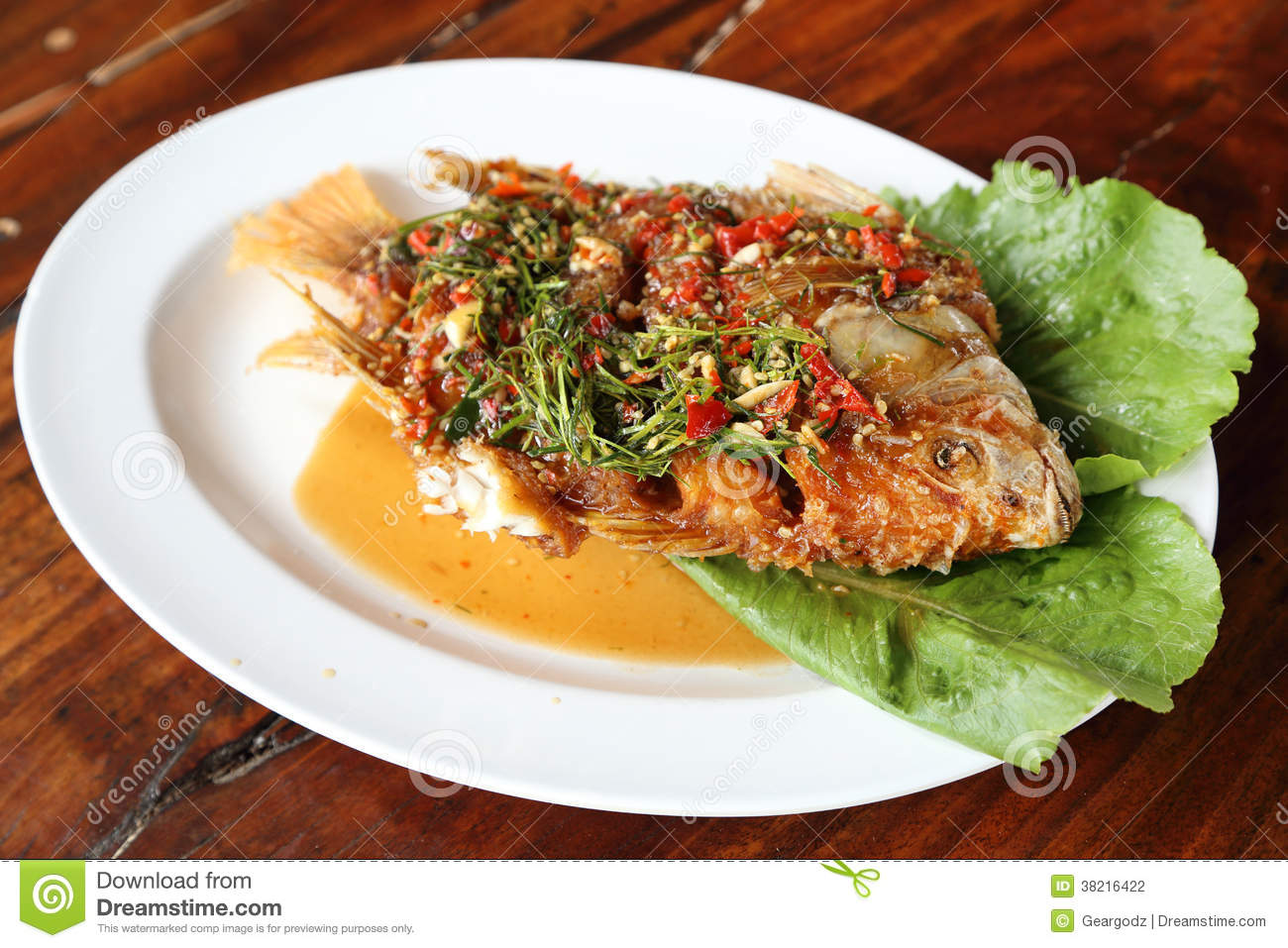 ... Photography: Fried ruby fish topped with sweet,sauer and hot sauce
