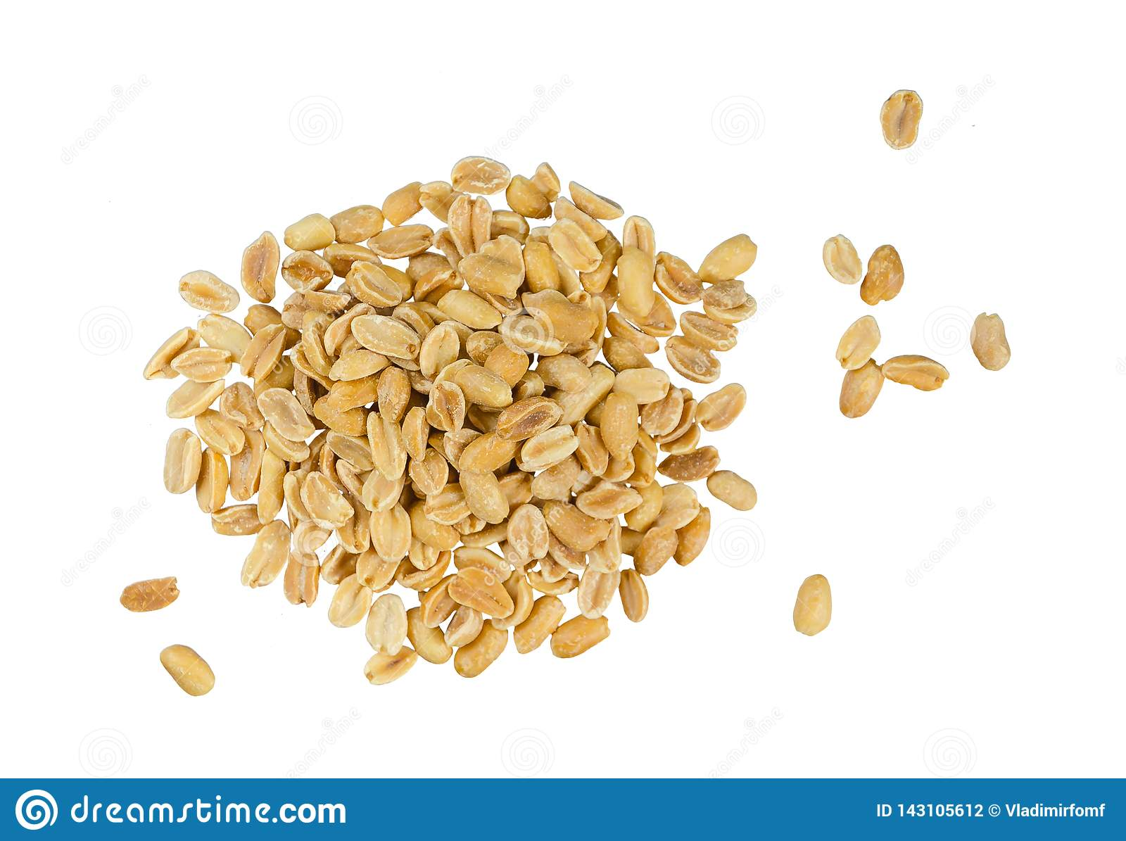 Peanuts pile isolated on white background, top view