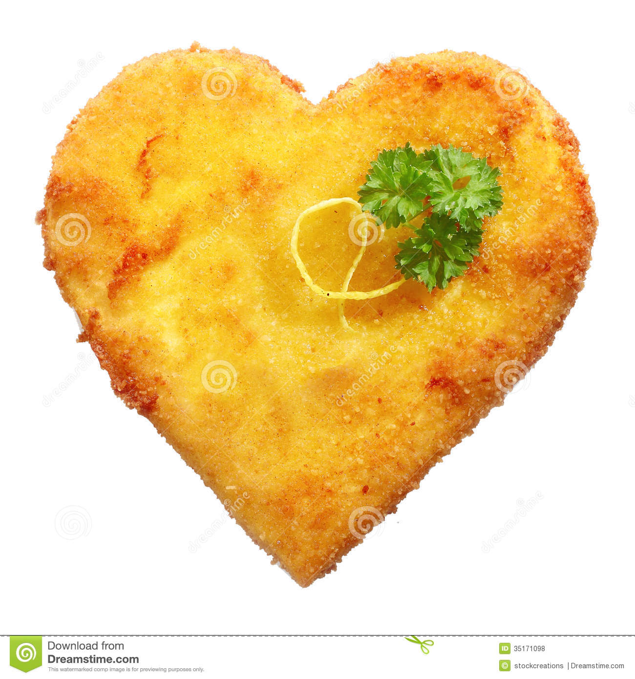 Fried Schnitzel in heart shape, decorated, on white