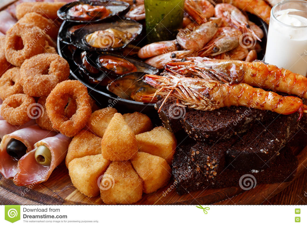 Fried Seafood Platter Closeup Stock Image Image Of Appetizer Holiday 82518981