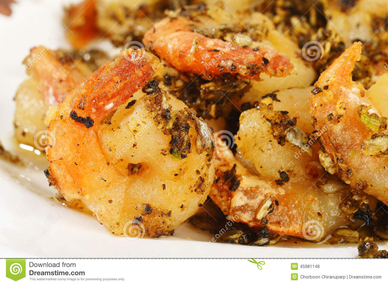 Fried Shrimp With Garlic Stock Photo - Image: 45981148