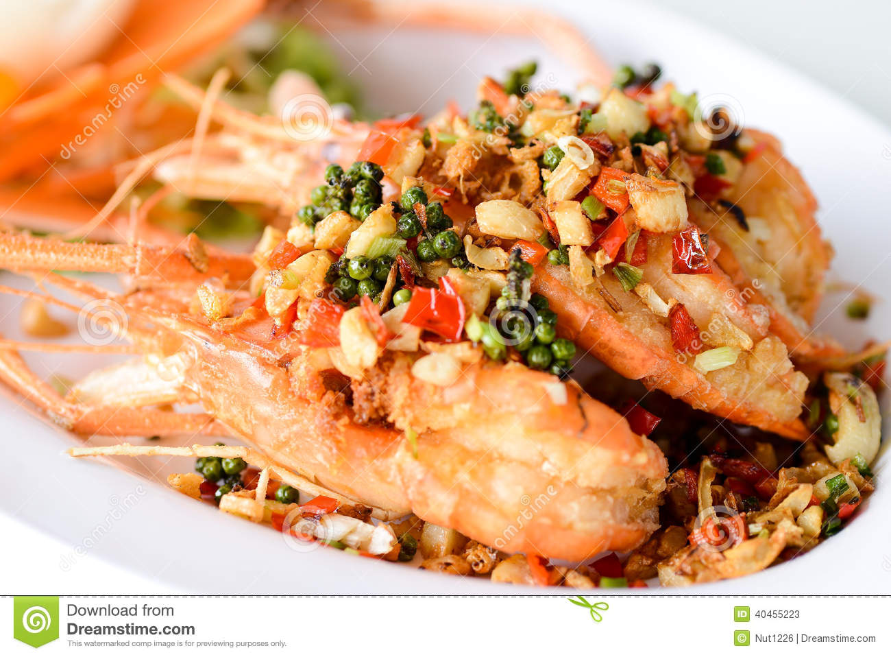 Fried Shrimp With Garlic And Pepper Stock Image - Image ...