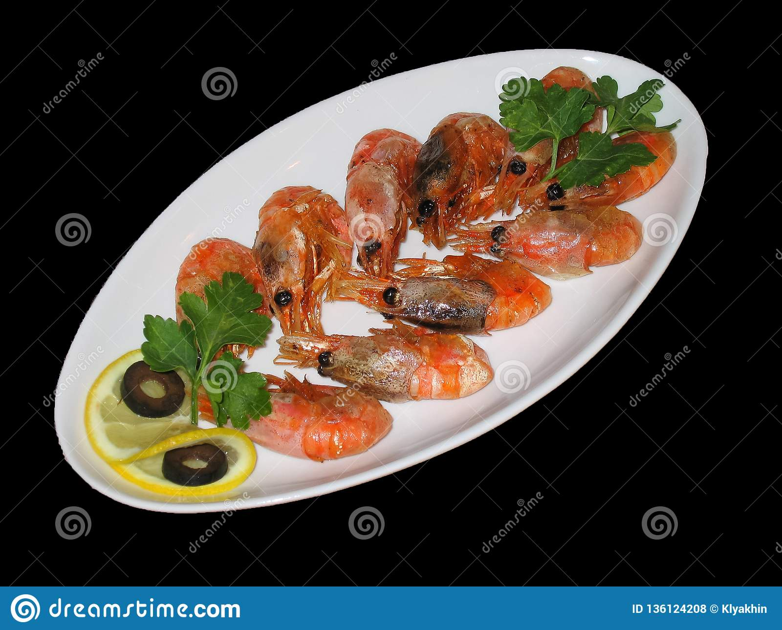 Fried shrimp on a plate of isolate