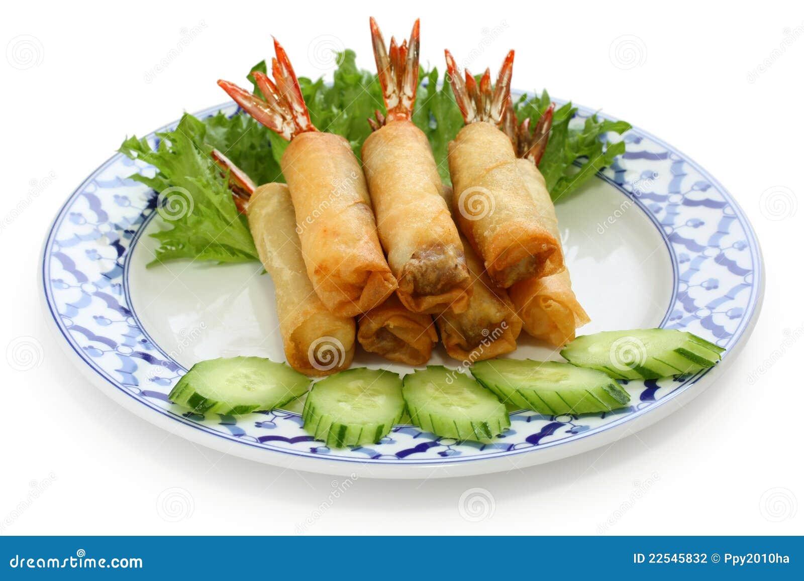 Fried Shrimp Spring Rolls, Thai Cuisine Stock Photography - Image ...