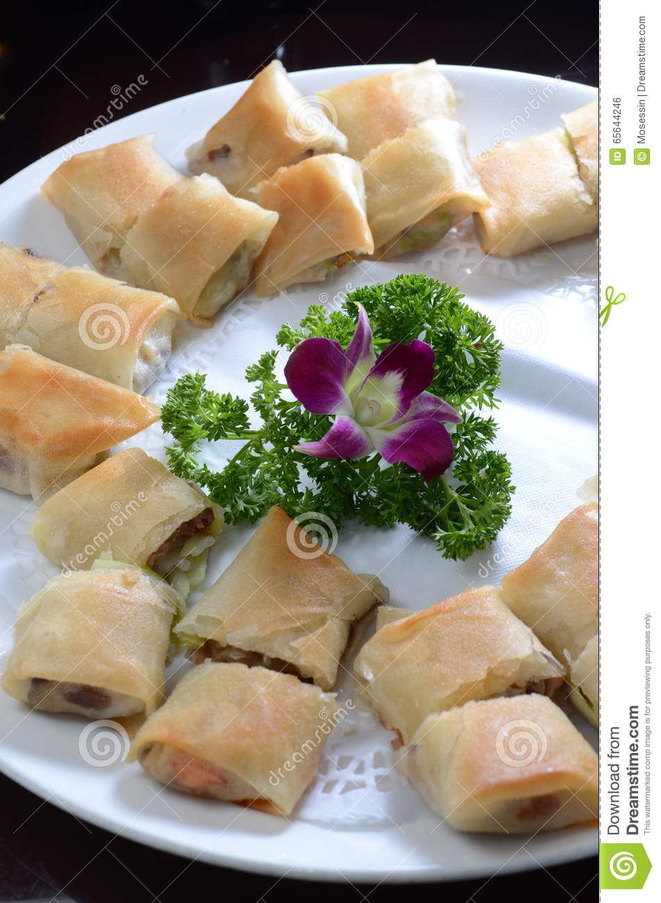 Fried Spring Roll Stock Photo Image Of Dessert Decoration 65644246