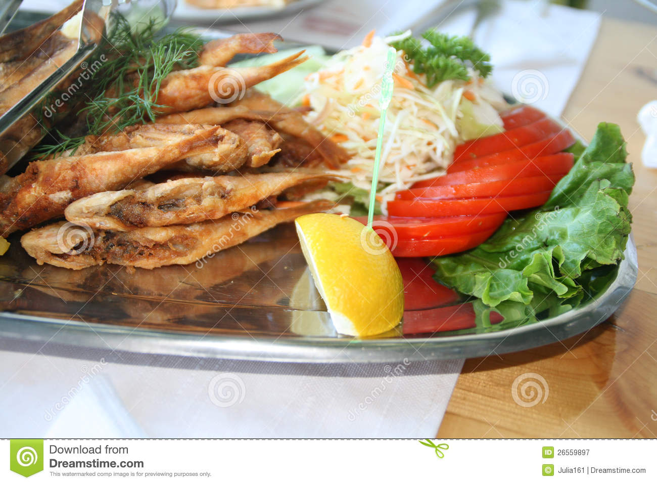Fried surmullet fish with vegetables royalty free stock for Fish with vegetables