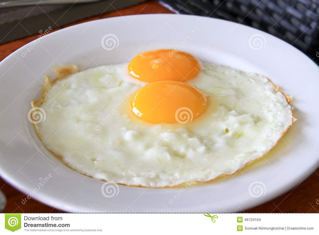 Breakfast With Two Fried Eggs In White Plate Stock Photo ...  |Fried Eggs On A Plate