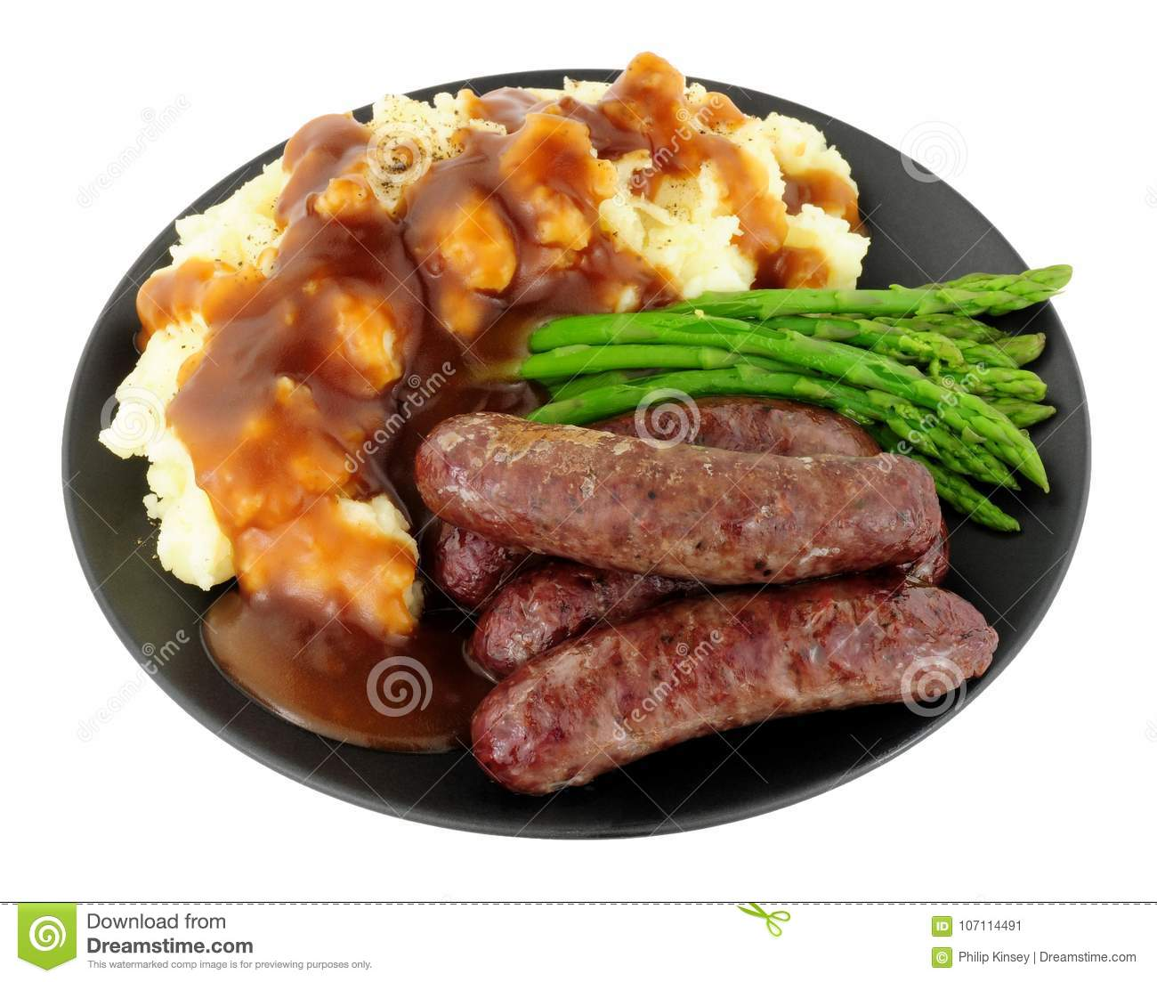 Fried Venison Sausages Meal