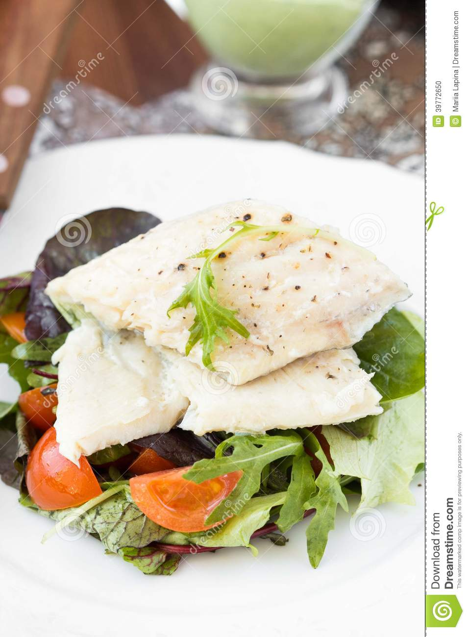 Fried White Fish Fillet With Salad Of Tomatoes, Arugula ...