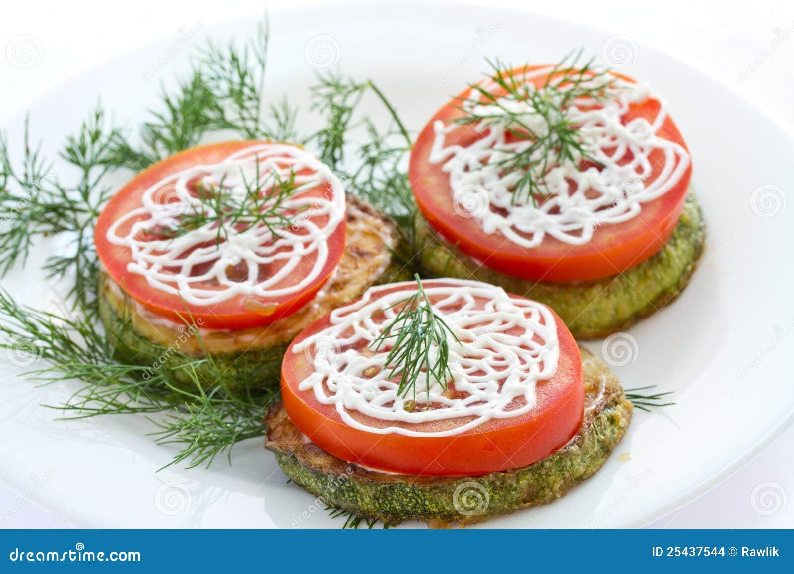 Рецепт жареных кабачков с чесноком и помидорами рецепт