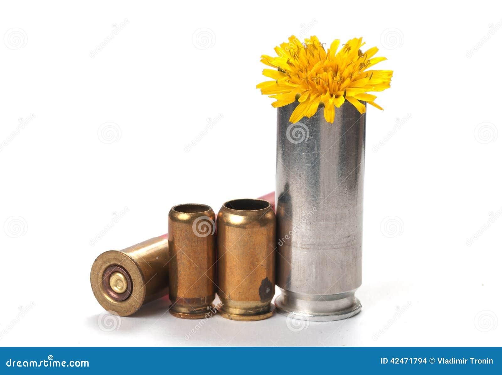 Friedensnicht Krieg benutzte Kugelgehäuse mit Blume