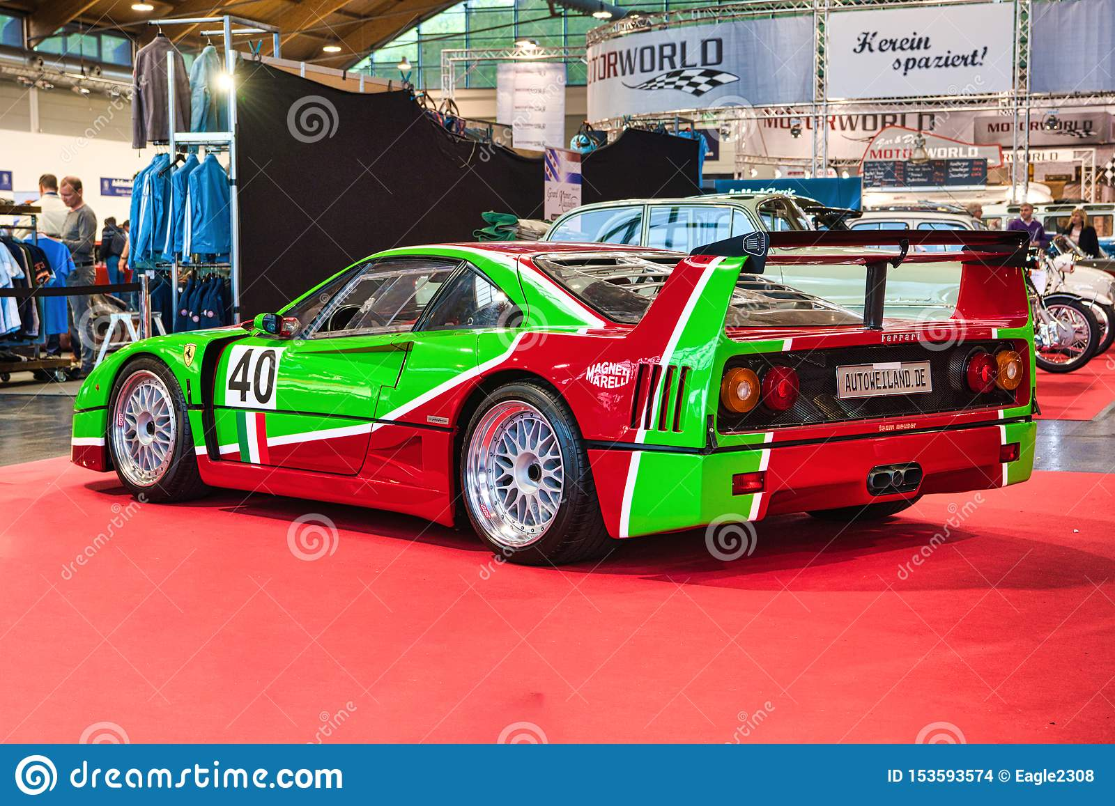 Friedrichshafen May 2019 Red Green Ferrari F40 1989 At Motorworld Classics Bodensee On May 11 2019 In Friedrichshafen Germany Editorial Stock Image Image Of Automobile Engine 153593574
