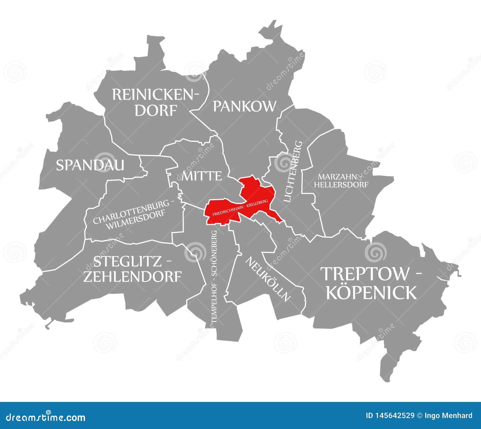 Friedrichshain-Kreuzberg City District Red Highlighted In ...