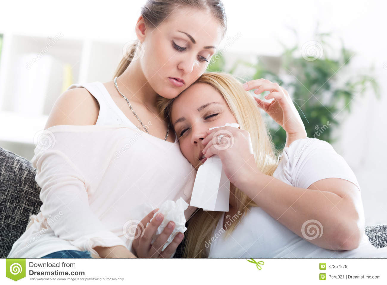 Friend Comforting Her Crying Friend At Home Royalty Free Stock Images ...