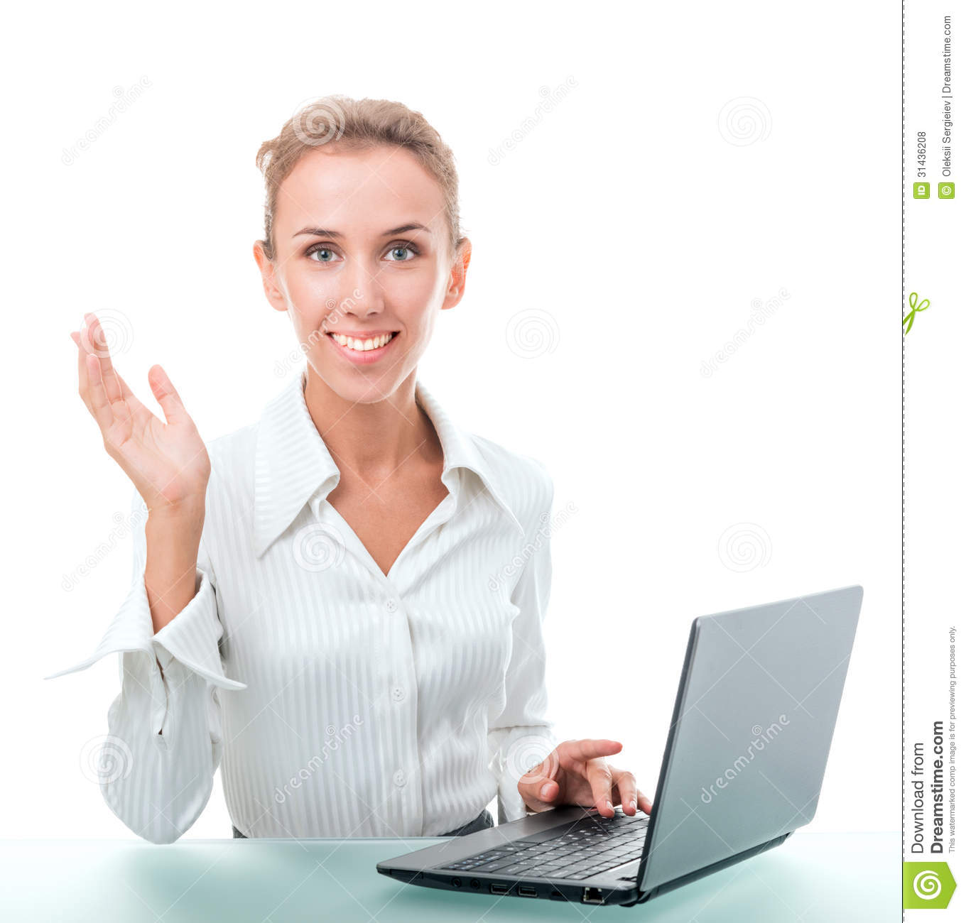 administrative assistant stock illustration image 46715576 friendly administrative assistant at the desk a laptop royalty stock photos