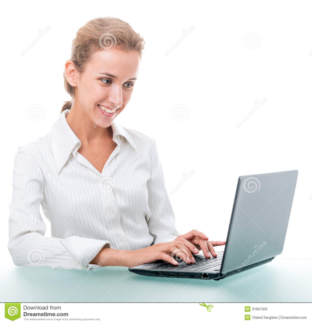administrative assistant stock illustration image  friendly administrative assistant at the desk a laptop stock photos