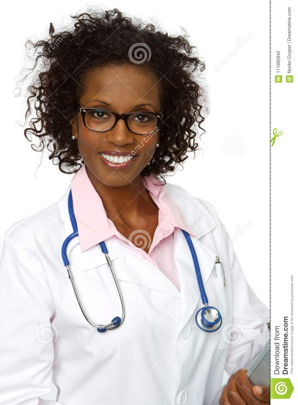 Download Friendly African American Doctor Smiling. Stock Photo - Image of nurse, people: 111692842