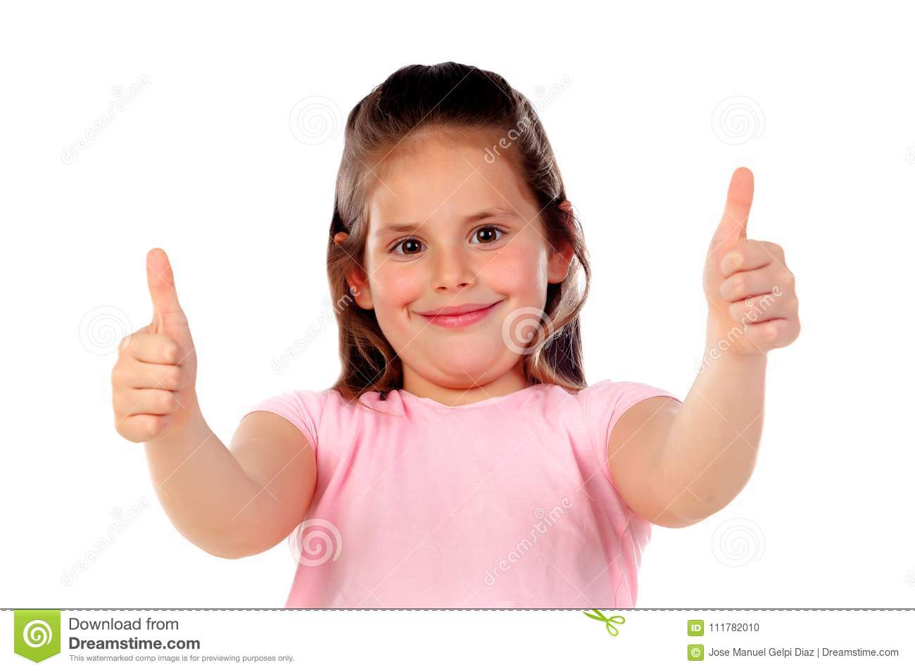 Friendly child saying Ok with her thumbs