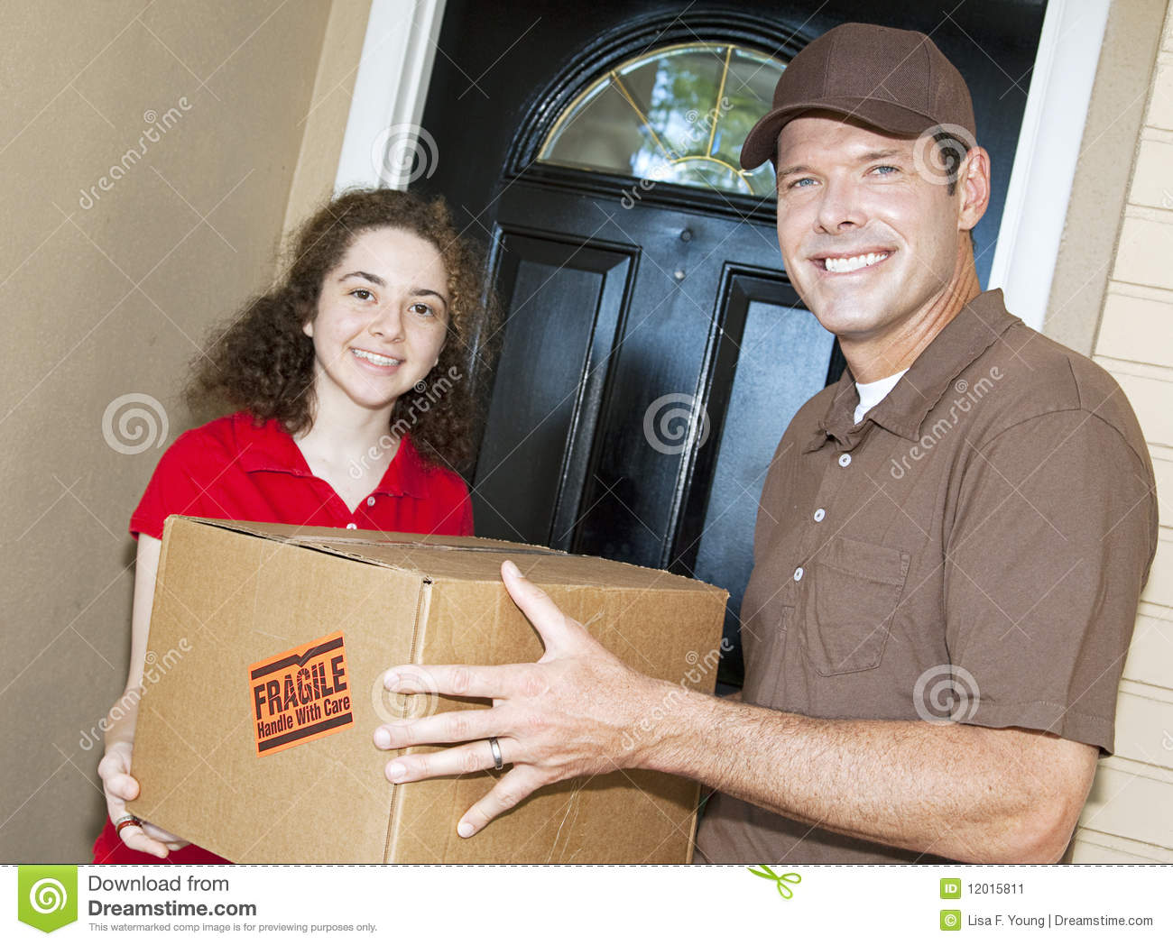 friendly delivery guy and customer stock image image 12015811. Black Bedroom Furniture Sets. Home Design Ideas