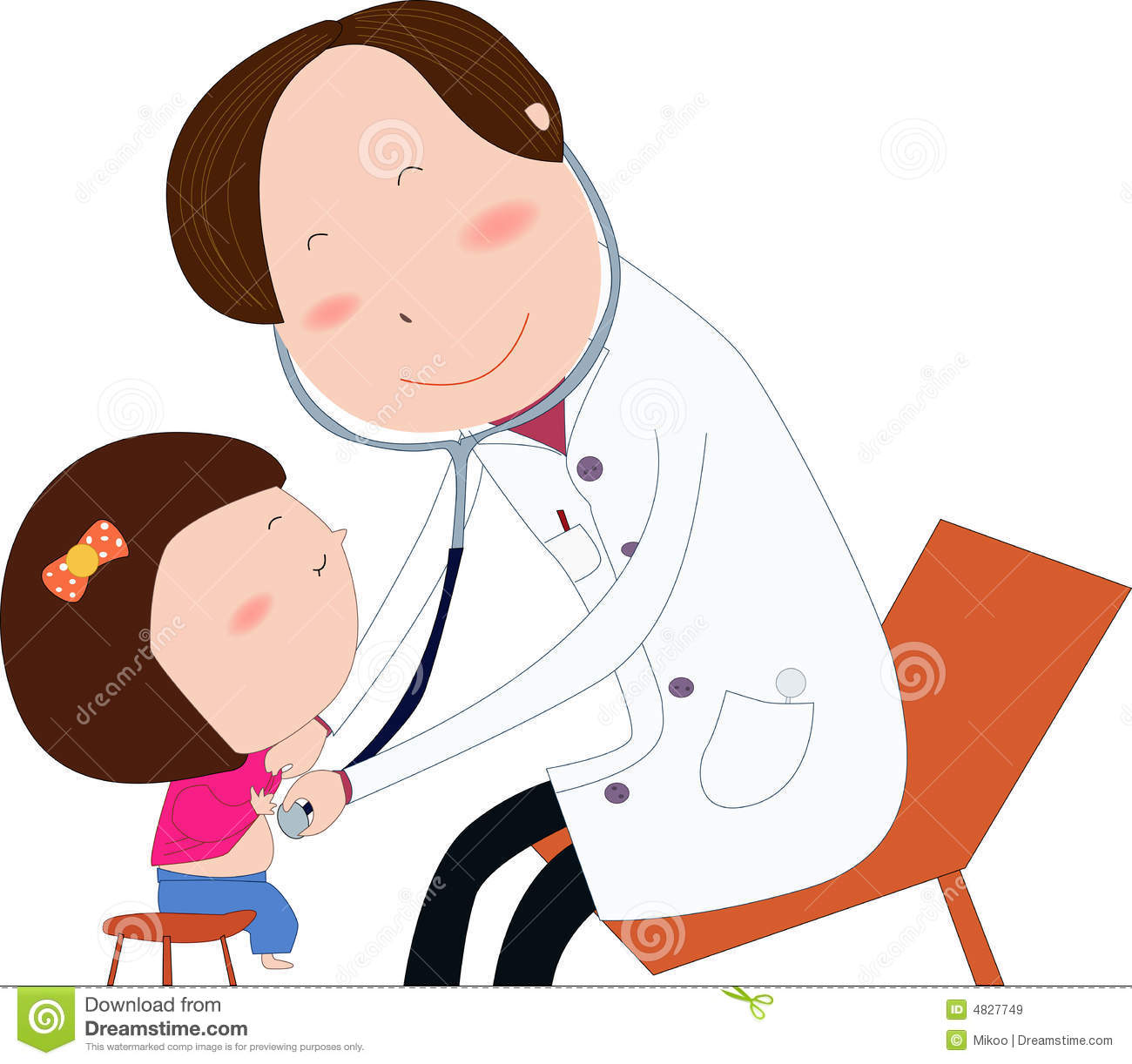 Friendly child doctor examine small girl. Doctor in white uniform ...
