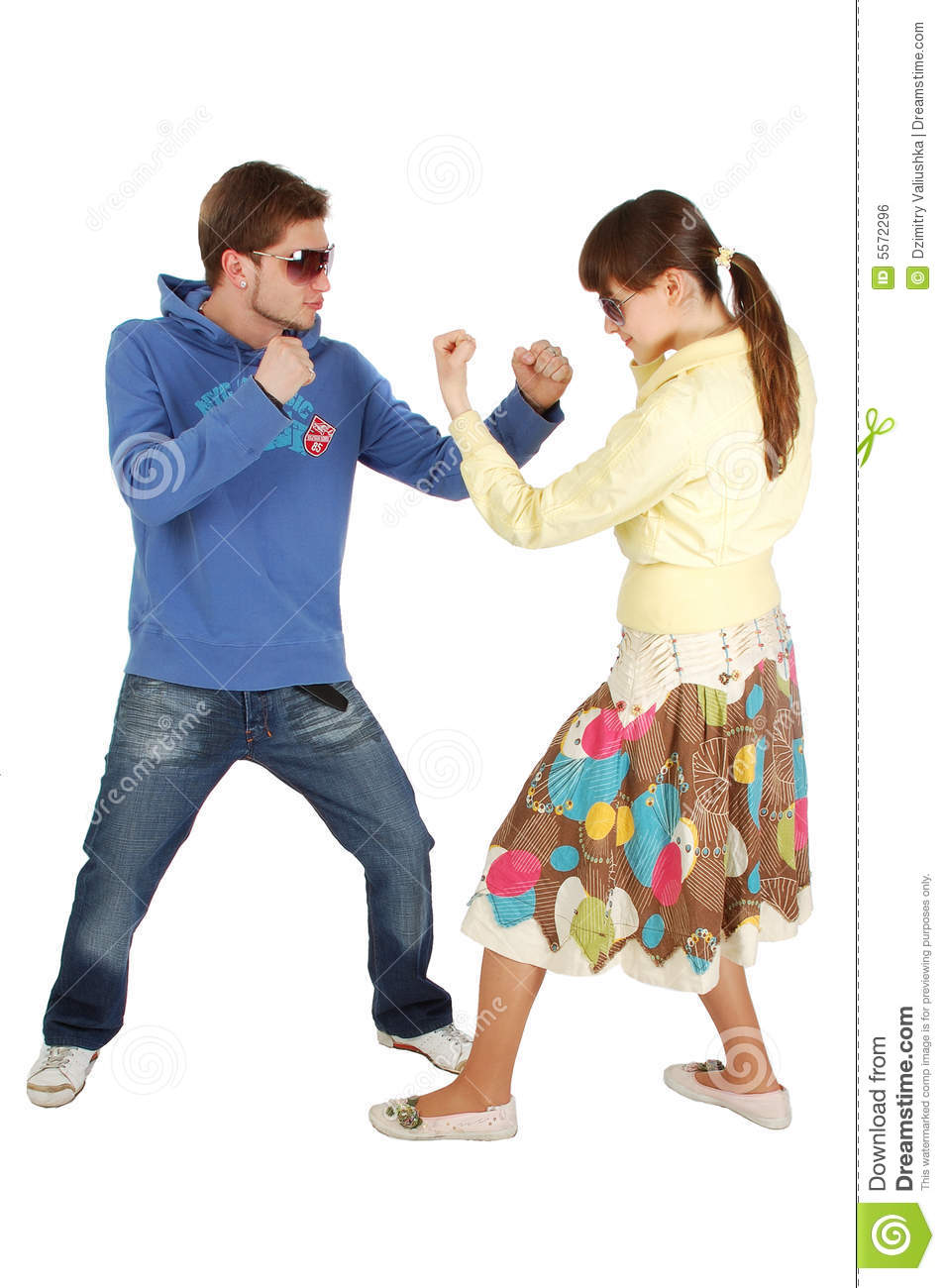 Girl Guy Makeup Youtube: Friendly Fighting Between A Guy And A Girl Royalty Free