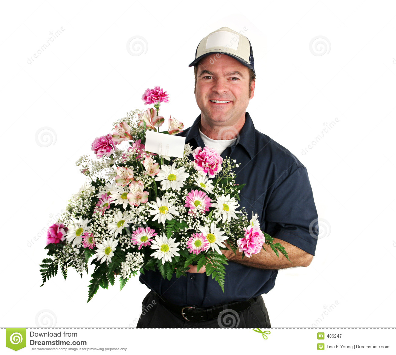 Friendly Flower Delivery Man Royalty Free Stock graphy Image
