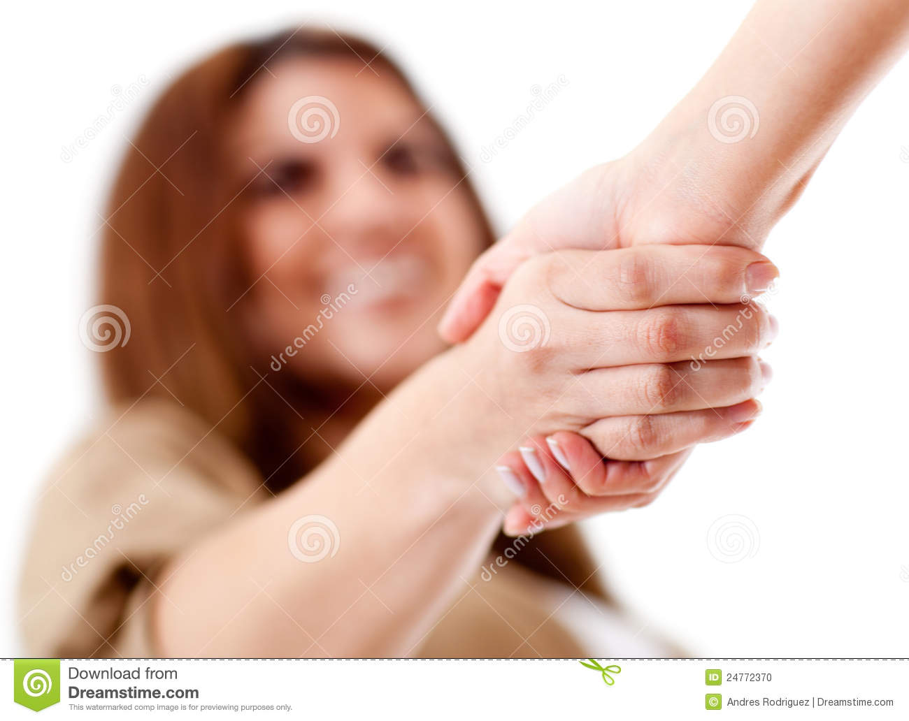 Friendly handshake - isolated over a white background. Business Meeting Handshake